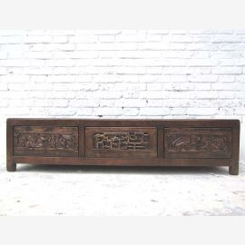 Rarity Shanxi 1890 dark elm Lowboard great for flat screen TV China woodcarvings by Luxury Park