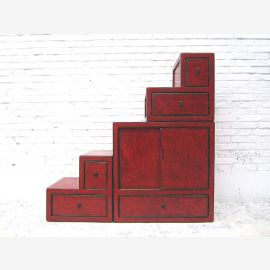 China small stairs dresser drawers maroon many on both sides openable under sloping roby rooms by Luxury Park