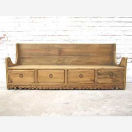 Shanxi 1890 beautiful rustic bench with drawers in the base country-style spruce of Luxury Park