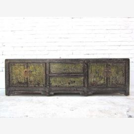 China pretty low sideboard chest of drawers Lowboard dark green pine for TV Flatscreen of Luxury Park