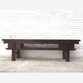 Asia Shanxi Antique 1910 rustic bench dark brown