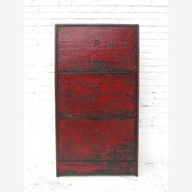 China slim mid-height shoe cabinet three broad subjects pine shabby chic maroon optics by Luxury Park