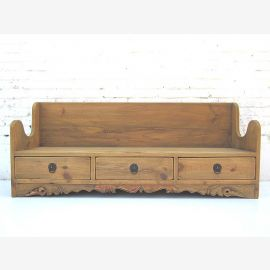 "China Shanxi 1910 rustic bench with 3 drawers in the base bright solid spruce nature by ""Luxury-Park"""
