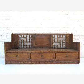 """China Shanxi 1900 Bench classic décor plant pedestal drawers dark varnished spruce from """"Luxury-Park"""""""