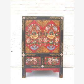 "China Tibet around 1920 small brightly painted dresser chest by drawers with black pine corpus by ""Luxury-Park""."