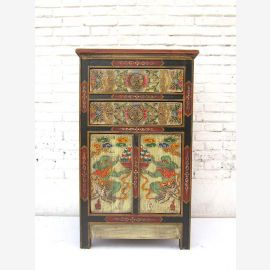 """China Tibet around 1940 great painted chest by drawers black body with the finest traditional designs pine wood from """"Luxury-Park"""""""