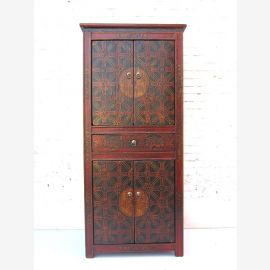 "China 1910 Art Deco look by rare semi-high cabinet Cabinet brownish red on black painted pine by ""Luxury-Park"""