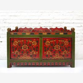 "China Tibet 1940 large flower pots pine wood dark green and red-brown painting by ""Luxury-Park"""