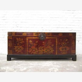 "China 1930 fine antique wedding chest red painted pine with a fine floral painting by ""Luxury-Park"""