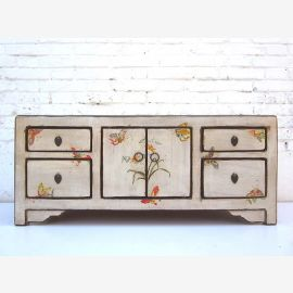 """China fine white dresser Lowboard in floral motifs painted pine wood drawers and double doors from """"Luxury-Park"""""""