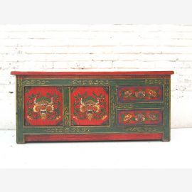"China Tibet narrow sideboard Sideboard for flat screen Flat screen dark pine green and red livery by ""Luxury-Park"""