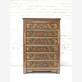 "China Tibet slim drawer dresser 6 large drawers cabinet pine rustic painted Front by ""Luxury-Park"""