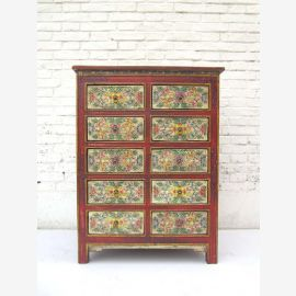 "China Tibet-high drawer dresser 10 drawers dark pine cabinet fronts subtle painting by ""Luxury-Park"""