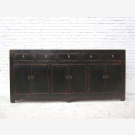 China 200cm wide sideboard sideboard with five drawers and doors painted black pine used look by Luxury Park