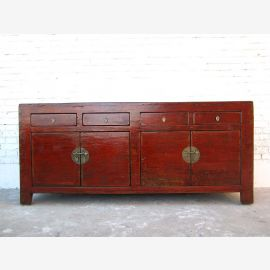 China 1815 wide sideboard Chest reddish brown pine