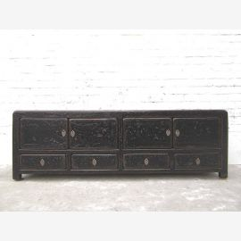 China TV Lowboard dresser used vintage look in black lacquer