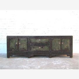 Asia Lowboard TV dresser black vintage style pinewood