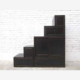 """China steps stairs drawers dresser shabby chic black used on both sides by """"Luxury-Park"""""""