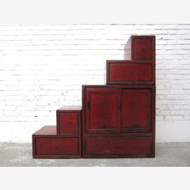 China small steps dresser drawers vintage style red-brown pine