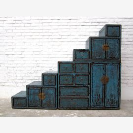 China large stairs dresser drawers Shabby chic painted blue