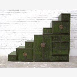 Asia big stages dresser drawers antique green paint
