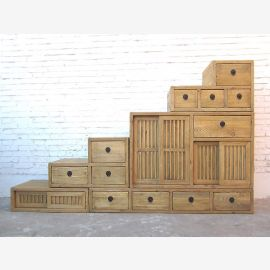 Asia extra wide drawers stairs stepped Chest light brown country-style