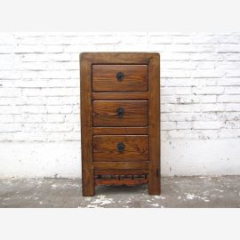 Asia chest of drawers bedside cabinet wood brown antique 100 years