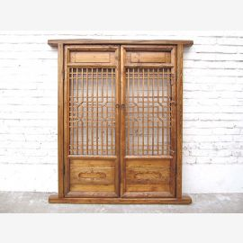 Asia double window grid 132x59cm 200 years pine natural wood colors