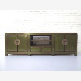 """China Lowboard low chest by drawers ideal for flatscreen antique pine green metal fittings by """"Luxury-Park"""""""