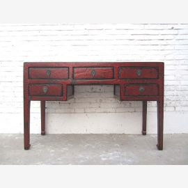 China colonial, desk drawers Antique Brown Vintage pine
