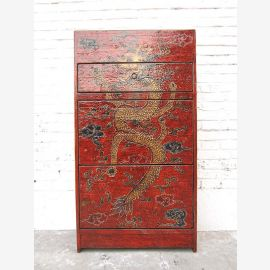 China Tibet drawers Shoe cabinet antique painted red pine