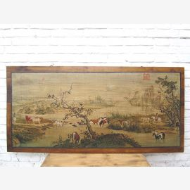 Asia wide mural landscape antique white frame about 80 years old pine tree