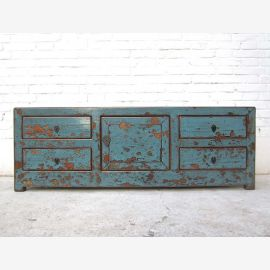 China TV Lowboard stahlblau heavy shabby chic 130x40x45cm