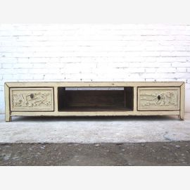 Asia Lowboard old white for TV flat carving by Luxury Park