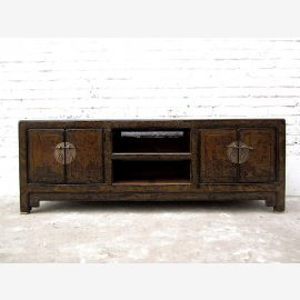 China Lowboard TV table antique Shabby chic green pine
