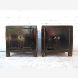 Asia nightstand dresser antique finish lacquer black pine