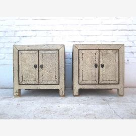Asia small bedside table console gray white shabby chic pine