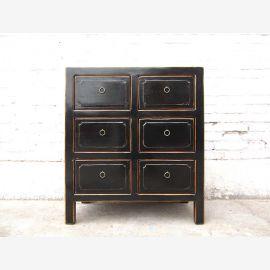 China classic dresser six drawers sideboard antique black pine