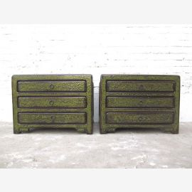 China small drawers console Lowboard antique finish dark green pine wood