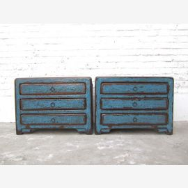 China small drawers Chest Lowboard shabby chic azure pine
