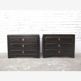 Asia small drawers Chest Lowboard antique finish lacquer black pine