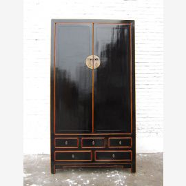 Asia high cabinet classic black lacquer Vintage style pinewood