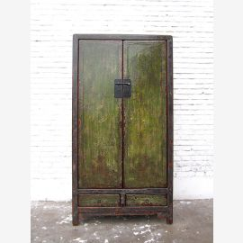 China cabinet antique green finish Shabby chic pine timber
