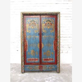 China small dresser cabinet blue red vintage style solid wood