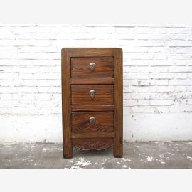 Asia small chest of drawers bedside table natural brown antique 100 years pine