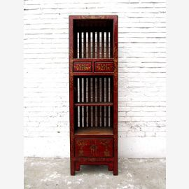 Asia highboard dresser maroon antique look Vintage Pine