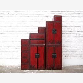 China stages Chest reddish brown antique finish colonial style pine