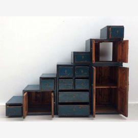Step cabinet in dark blue