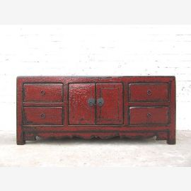 China small sideboard Chest reddish brown antique finish pine timber