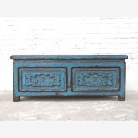 China Bench Chest Pine azure shabby chic heavy used